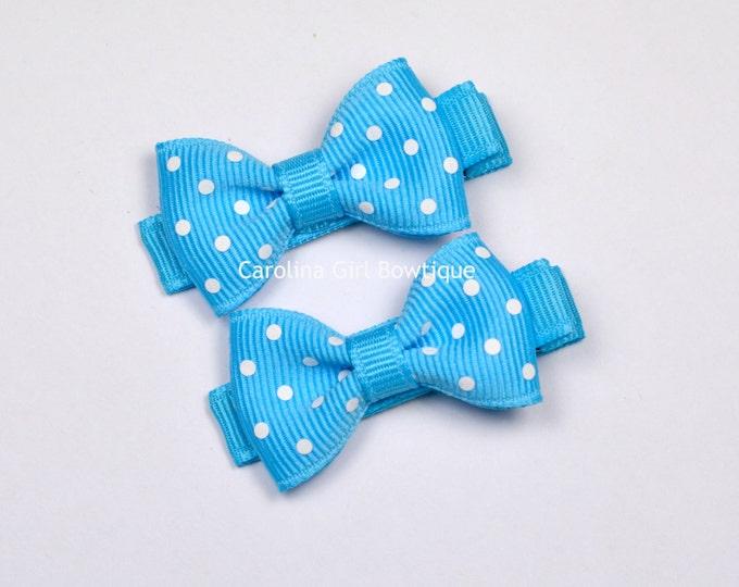 Mini Hair Bows ~ Mystic Blue Dots Hair Bow Set of 2 Small Hairbows - Girls Hair Bows - Clippies - Baby Hair Bows ~ No Slip Grip always added