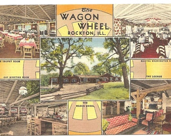 The Wagon Wheel, Rockton,  Ill Vintage 20's -40's Linen Postcard