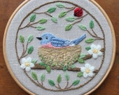 Nesting Bluebird Crewel Embroidery Pattern and Kit