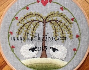 Two Sheep Crewel Embroidery Pattern and Kit