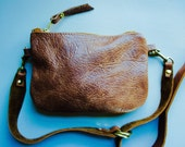 Festival Pouch///Hip Pouch///Fanny Pack//Thick Brown Leather with Adjustable Hip Strap in Solid Brass