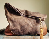 NEW XL Oxford Single/// Nubby Brown Leather with Mahogany Leather Accents ///Fold Over Clutch/// Pouch