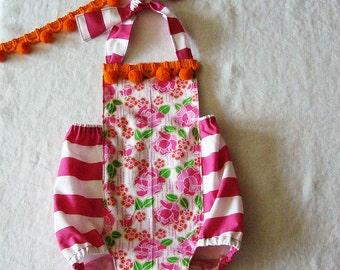 Stripes & Flowers Baby Romper 6-12M READY Toddler Girl Romper Sunsuit