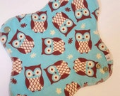Mama Cloth Pad - Blue Owls Print Flannel HEAVY Cloth Mama Pad Postpartum  .. 10 inch FREE SHIPPING