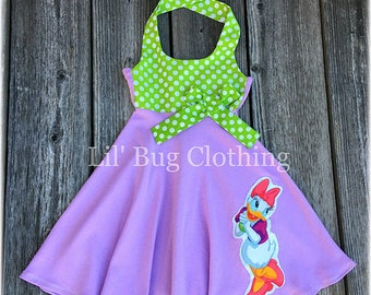 Lavender Daisy Duck Dress, Daisy Duck Birthday Dress, Daisy Duck Vacation Dress, Minnie Mouse Girl Dress, Daisy Duck Birthday Party Outfit,