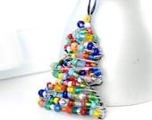 Christmas Ornament, Beaded Christmas Tree, Wire Tree, Christmas Tree Ornament, Holiday Home Decor, Christmas Decor, Colorful Ornament