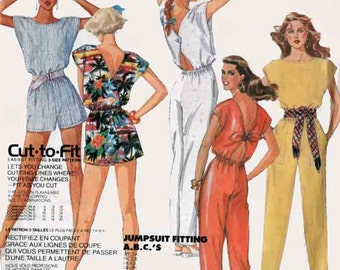 Vintage 80s Jumpsuit Romper Sewing Pattern Cap Sleeve Playsuit w/ Back interest McCalls 2481 Womens 80s Sewing Pattern Size 11-14 UNCUT