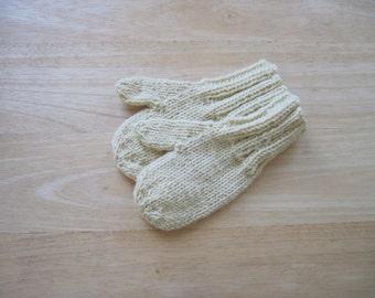 Child Wool Mittens Small Hand Knit Butter Cream