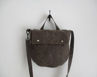 Brown waxed canvas Saddle Bag Small Messenger bucket bag great for minimalists modern trend pocketbook purse The Simple SoBo a shoulder bag