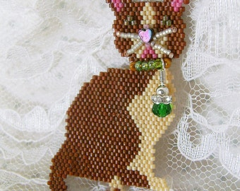 Beaded Cat Pin