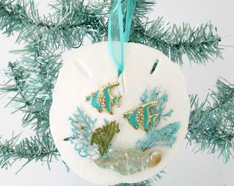Sand Dollar Ornament, Tropical FIsh Bling, Turquoise and White Coastal Decor, Aqua Sea Fans, Glitter Christmas Tree, Beach Decor