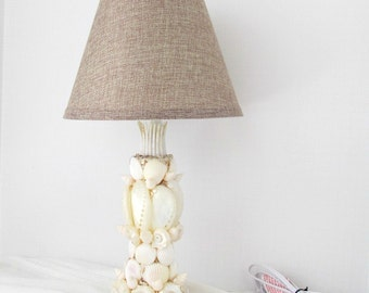 Seashell Lamp, Lamp with shells, lamp with burlap shade,coastal beach nautical lamp,beach lighting,OOAK lamp