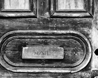 Mail Slot, New Orleans French Quarter. Black and white photograph