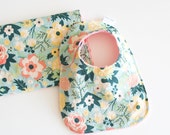 Gift Set with Minky Fabulous Mint Main Bib and Burp Cloth for Baby Girl