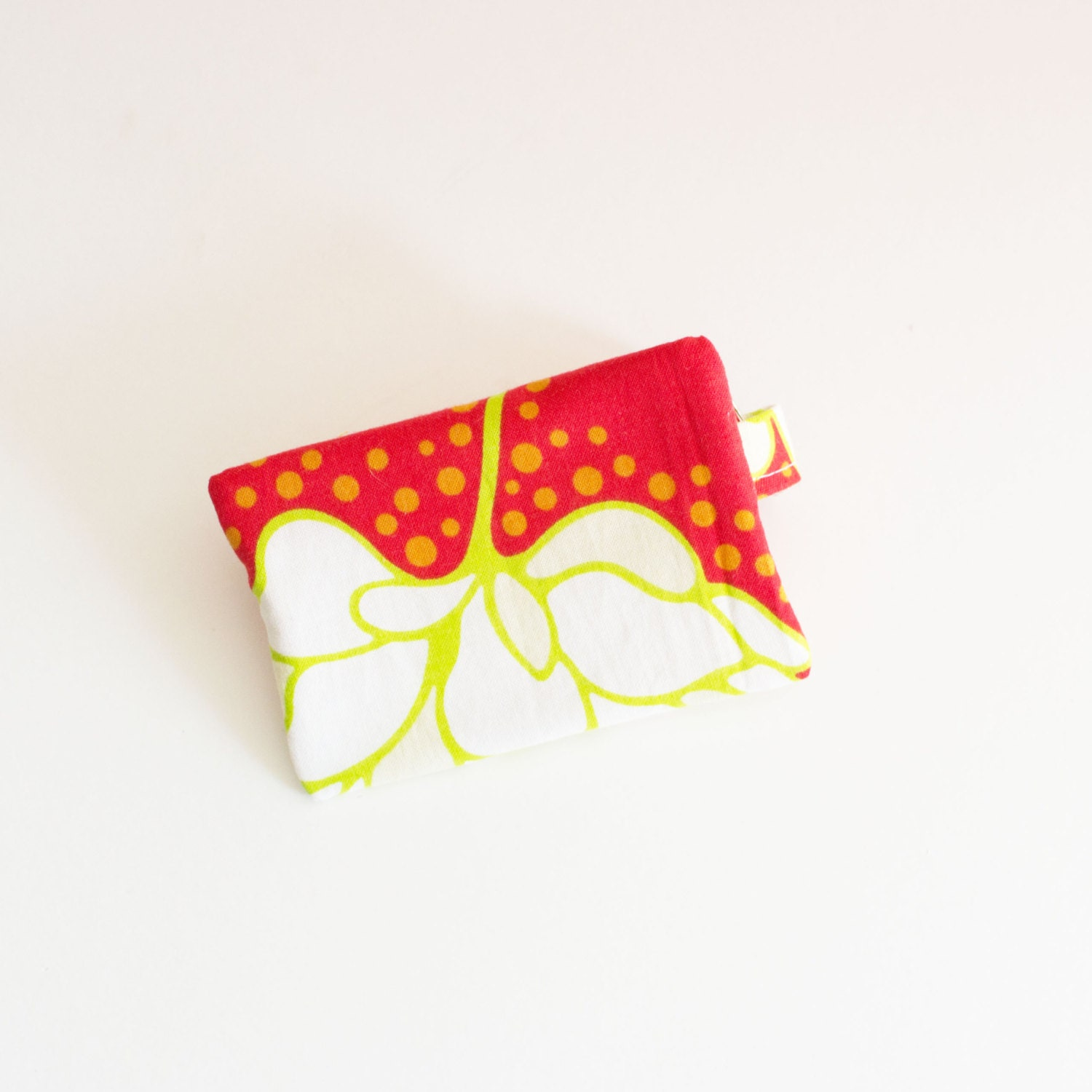 business card holder small zipper pouch flash drive holder red