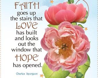 """AP6.7 - Faith, Love and Hope Floral - 6"""" Fabric Art Panel"""
