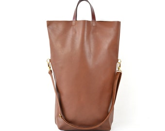Nicole - Handmade Oversized Brown Leather Tote Bag SS17