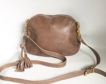 AW13 Leather bag in taupe - converts to clutch
