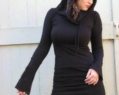 Hooded Blck Dress with extra long sleeves, mini dress with long sleeves and hood