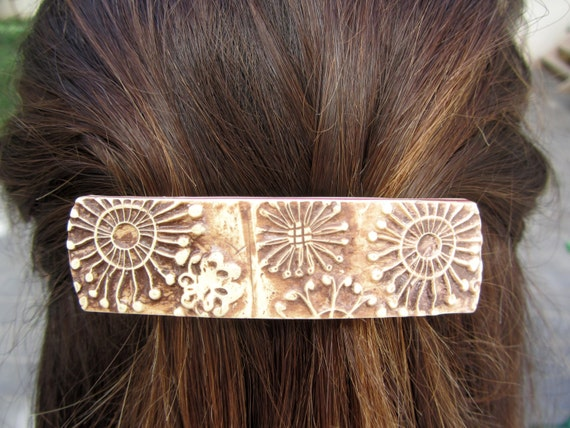 Polymer Clay Hair Barrette Stamped Relief Brown Burnt Umber  Cream Floral Pattern