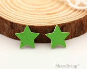 10pcs Green Star Wood Cabochons / Charm, Perfect for Earring, Necklace - HWE401A