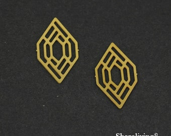 Exclusive - 10pcs Raw Brass Geometric Charm / Pendant, Fit For Necklace, Earring, Brooch - TG133
