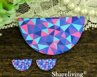 Purple Pink Triangle Semicircle Wood Charm, Wood Cut Cabochon, Wood Print Set - HWC856Q