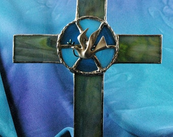 Stained Glass Cross with Peace Dove Suncatcher
