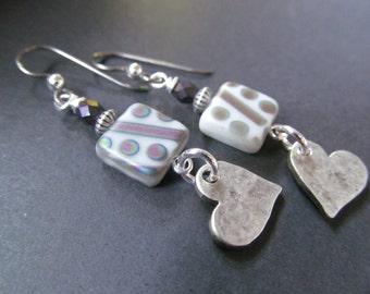 Hearts, Love, Gray and Purple Geometrical Czech Glass Niobium Earrings