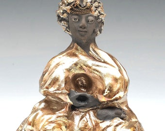 Little Gold Buddha in Raku Ceramics Sculpture of Meditation