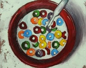Cereal 21 12x12 inch original still life breakfast oil painting by Roz