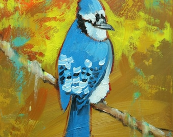 Blue jay #35 -  12x12 inch portrait original bird oil painting by Roz