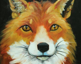 Fox painting 37 12x12 inch original animal portrait oil painting by Roz