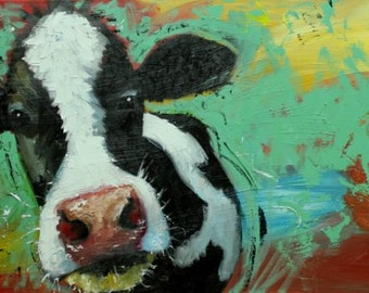 Cow painting animals 1070  18x36 inch original portrait oil painting by Roz
