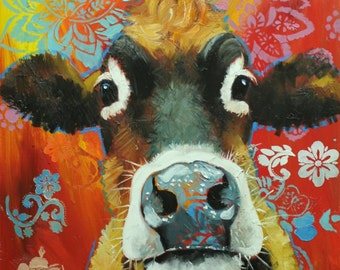 Cow painting 1110 24x30 inch animal original oil painting by Roz