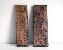 Dutch Cookie Mold, Carved Wood Cookie Mold, Springerle Speculaas, Rustic Christmas Decor, Wood Folk Art, Baking Supplies, Llama Wall Hanging