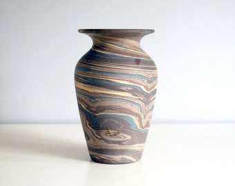 Niloak Mission Swirl, Antique Pottery Vase, Arts and Crafts Decor, Brown Ceramic Pot, Vintage American Art Pottery, Blue Mission Ware Stripe