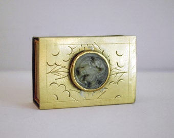 1930s Chinese Brass Matchbox Cover Vintage Jade Medallion Disc Tobacciana Engraved Metal Chinoiserie Asian Decor Antique Collectibles