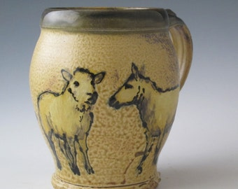 Jumbo Mug with sheep slip trailed pottery