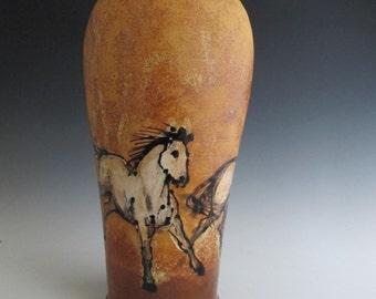 vase with three horses handmade stoneware pottery
