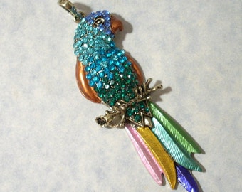 Large Colorful Parrot Pendant 32mm x 95mm