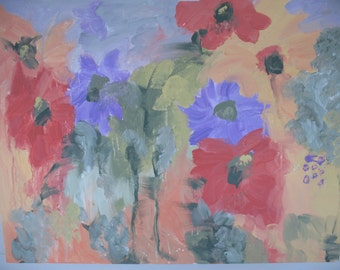 """Original -  Abstract Floral Painting - """"Misty Garden - 20 x 24 inches - Kate Ladd"""