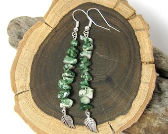 Green Tree Agate Leaf Earrings