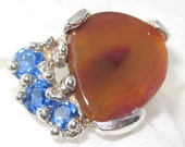SALE-  Nevada banded Agate w43 Natural Ring OOAK USA Hand Made Sterling Silver Treasurings Jewelry Jerry Burkhart artist signed