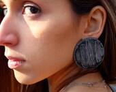 Sgraffito Earrings-Enamel