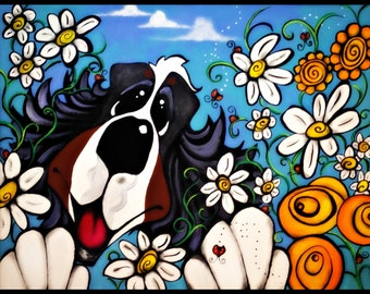 bernese mountain dog berner bmd garden  flowers daisies orange garden whimsical dog funny maggie brudos painting Original whimsical DOG art