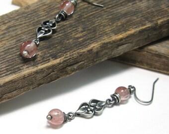 Cherry quartz earrings, pink Swarovski crystal, heart jewelry,  long dangle earrings, pink quartz beads, pink drops