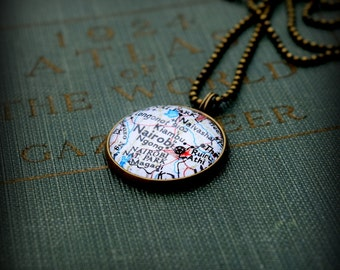 Nairobi Map Necklace - Custom Handmade Pendant - Kenya Charm Jewelry - Africa