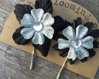 Black and Silver Flower Bobby Pins