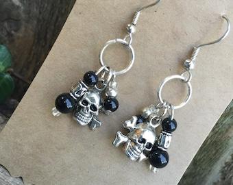 Cross Bone Skull Earrings